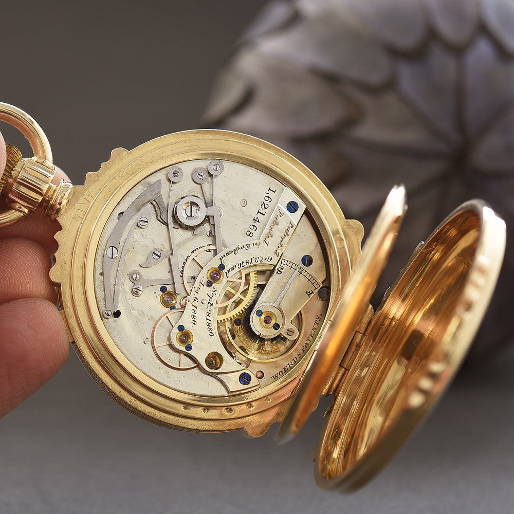 1908 Am. WALTHAM Chronograph (Model 1874) 18K Box Hinges Pocket Watch