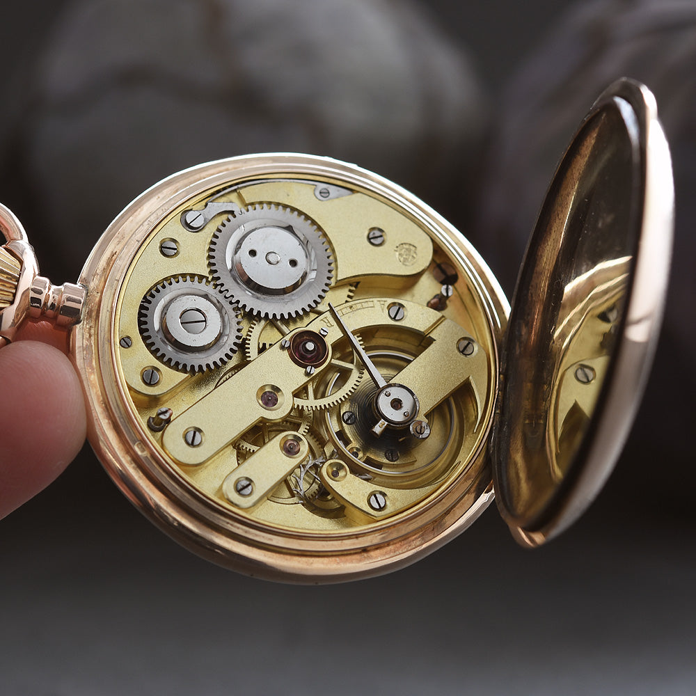 1900s MONOPOL 14K Gold Swiss Large Savonette Pocket Watch