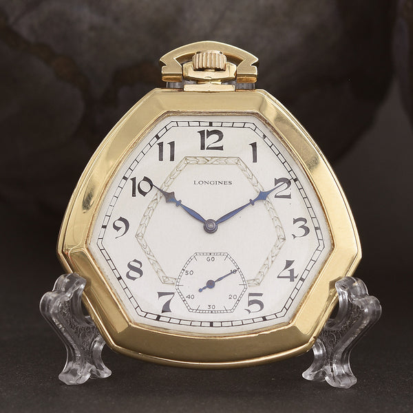 1923 LONGINES 18K Gold Art Deco Swiss Pocket Watch