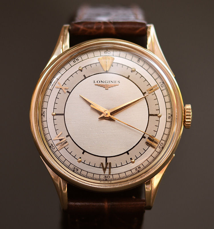 1952 LONGINES Gents 14K Solid Gold Sector Dial Watch