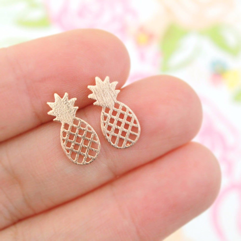 shiny earrings pineapple stud gold in