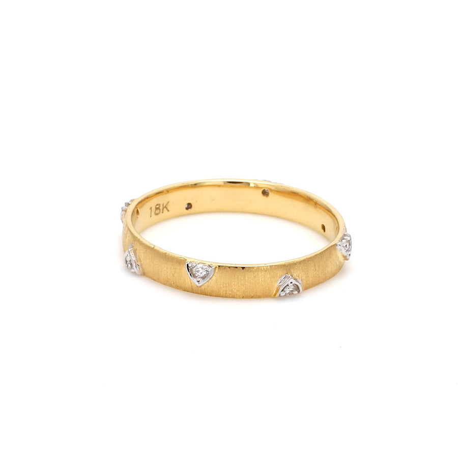 Pop Perfect Ring Diamontrigue Jewelry: SATIN Wedding Rounded Band Yellow Gold
