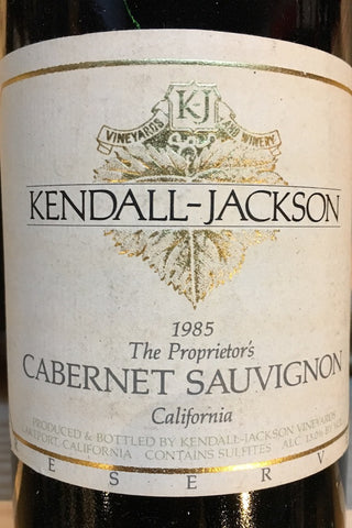 Kendall-Jackson Vineyards, Reserve Cabernet Sauvignon Sonoma County 1985