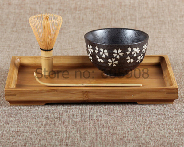 4 piece Matcha Tea Bamboo Set -  Chasen / Scoop / Bowl / Tray