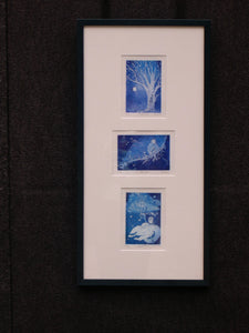framed Little Girl's Journey into the Starry Winter Night