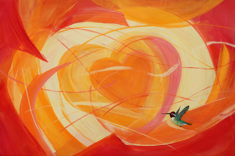 "A heart for Anna Hummingbird, original  painting 24""x36"""