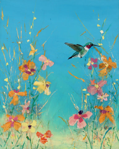 Summer Blue Sky Ruby Hummingbird