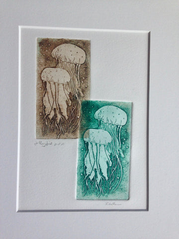 12x16 Matted one of a kind Jellyfish