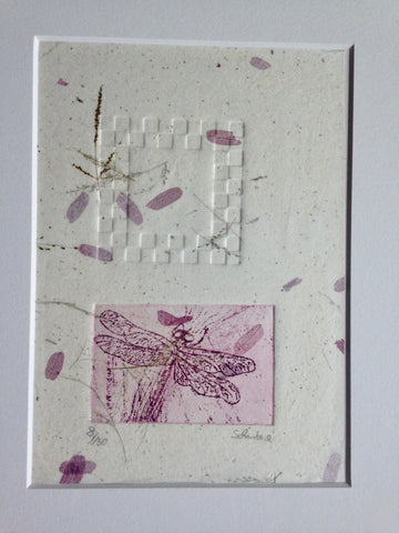 Dragonfly on Mulberry leave paper