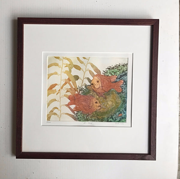 16x16 framed  Garibaldi 'Let's Dance' (earth tones)
