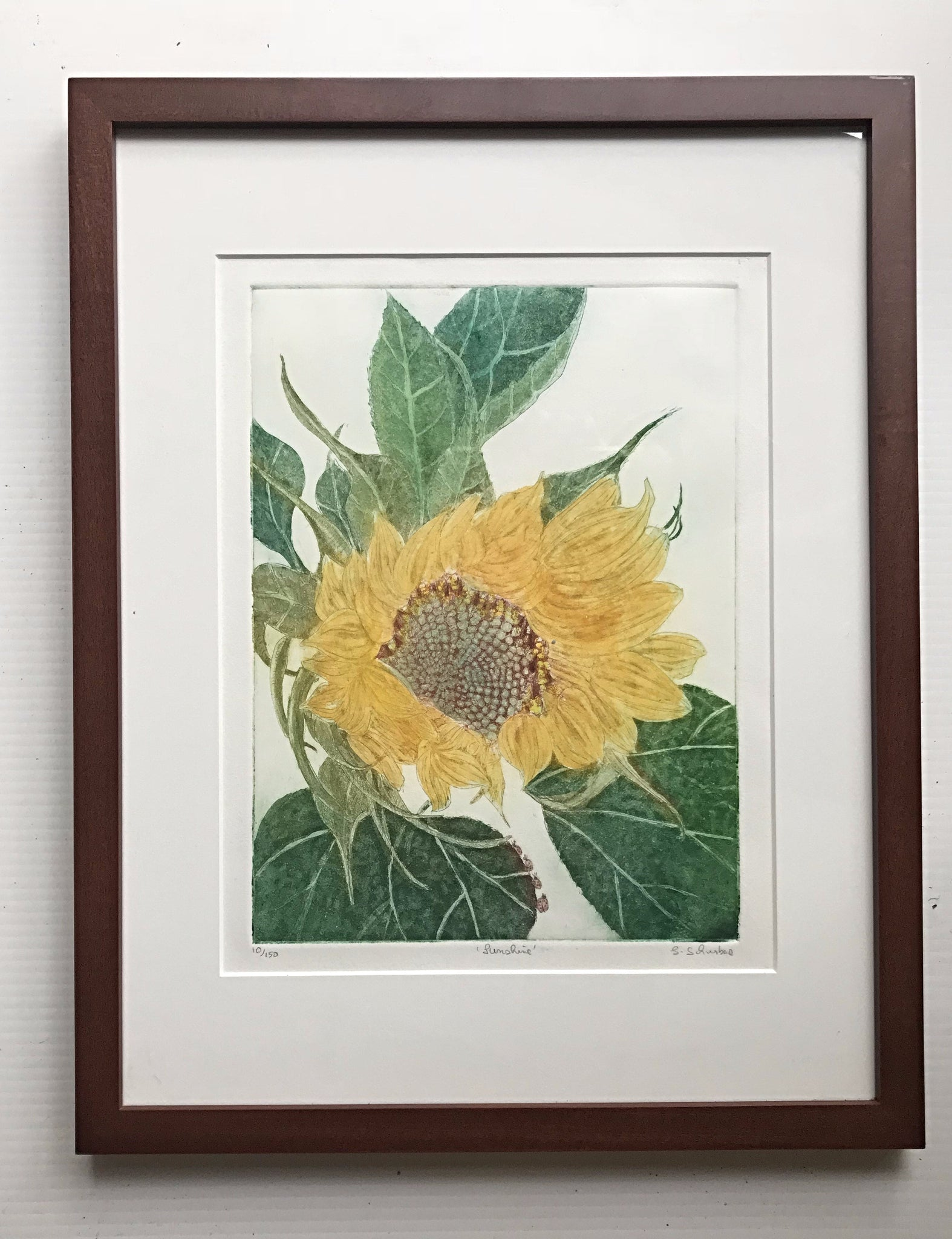 Framed 14x18  Sunshine Sunflower with Lady Bugs