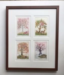 16x20 framed Four Season Trees
