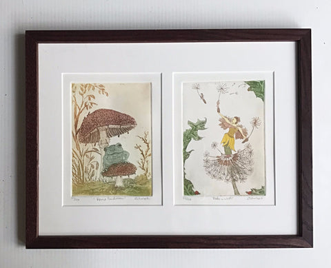 framed 12x16  Make a Wish - Dandelion Fairy - Frog on mushroom