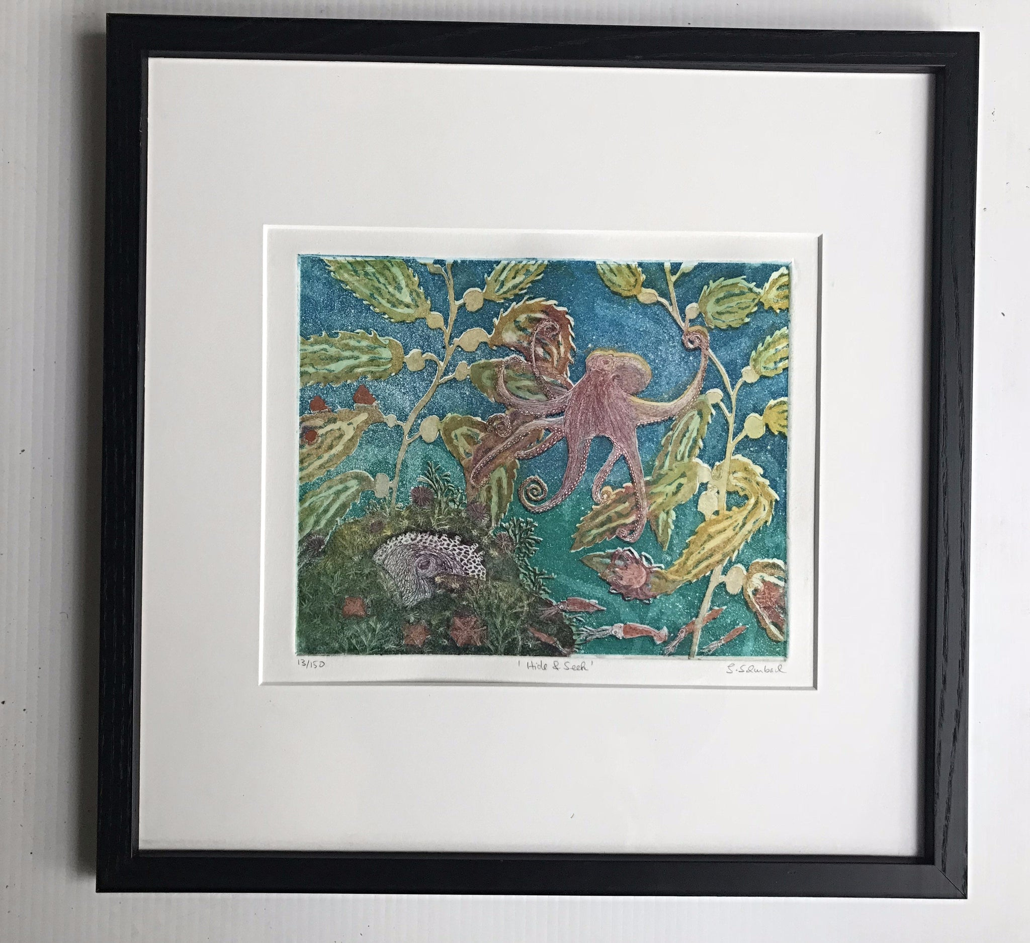 16x16 framed  Octapus Hide & Seek Blues