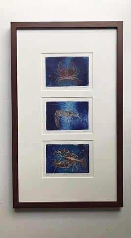 14x24 framed Shrimp - Crab and Lobster