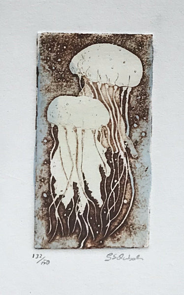 Jellyfish  in barnwood frame