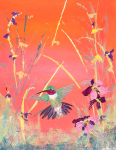 "I am here  Ruby throat Hummer, original painting 11""x 14"""