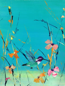 "blue Sky Costa Hummingbird, original painting 11""x 14"""