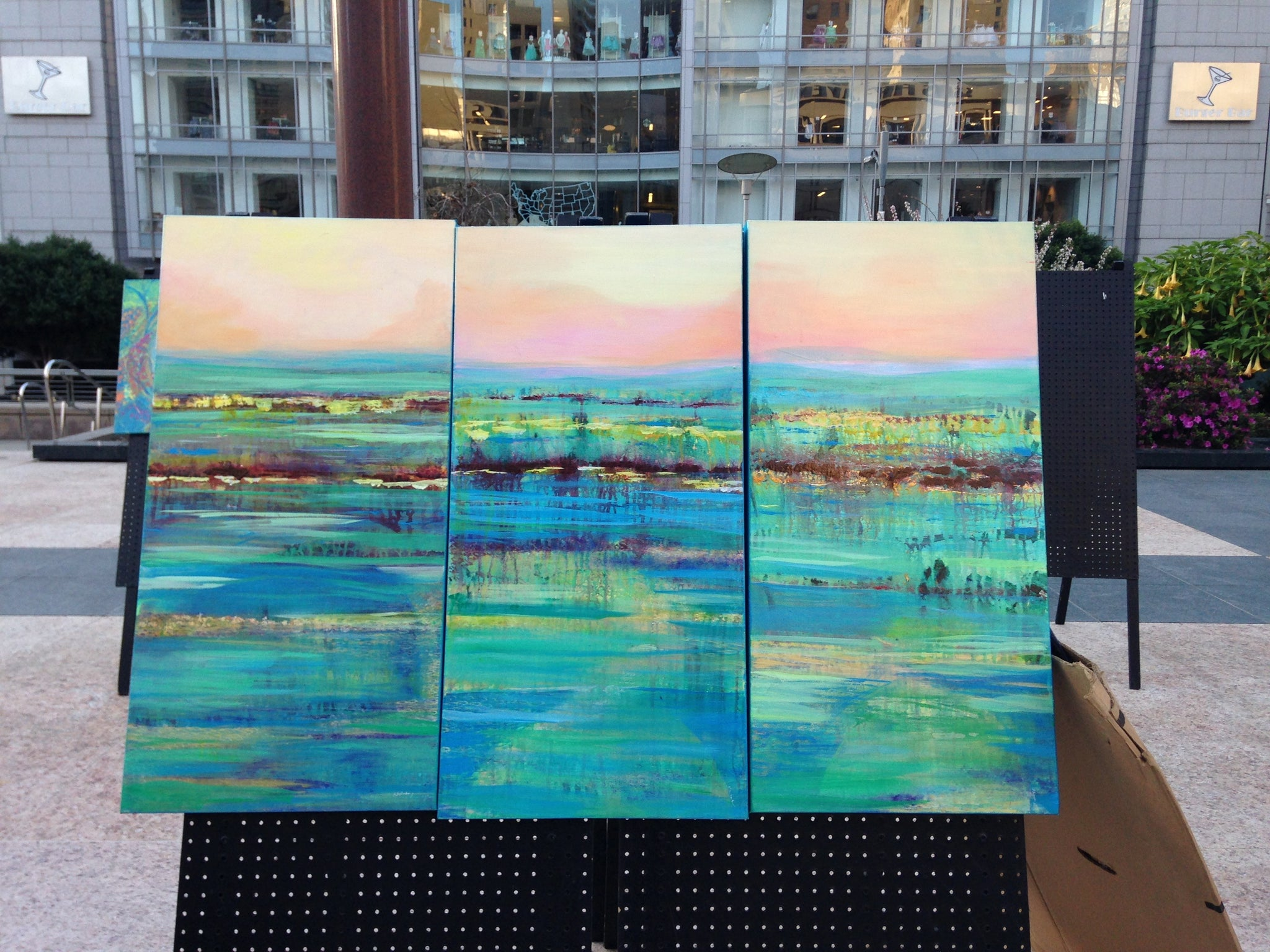 Water under the Bridge, original  painting  triptic size 48x36 total