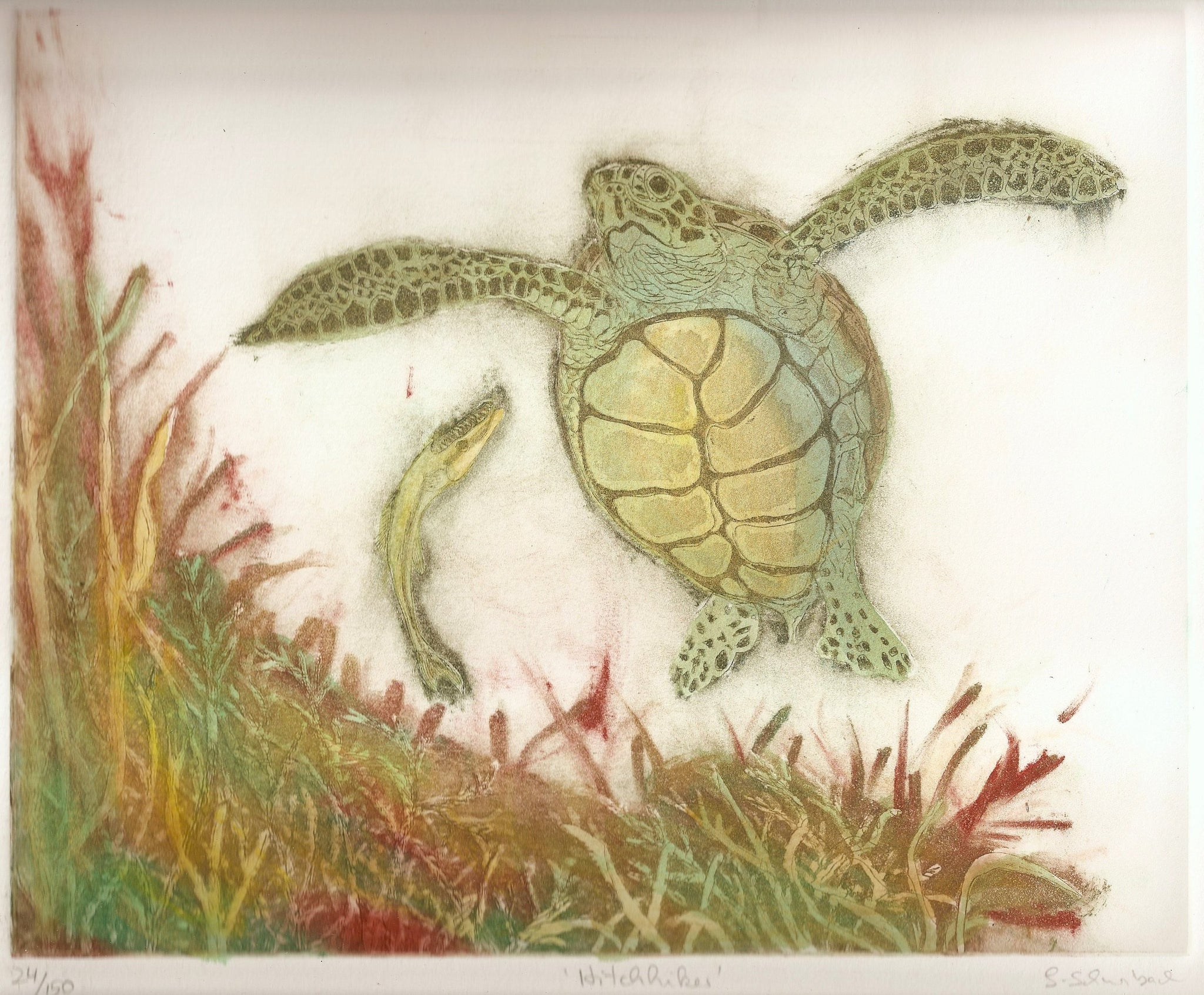 Hitchhiker Turtle Earth tone (one-plate etching)
