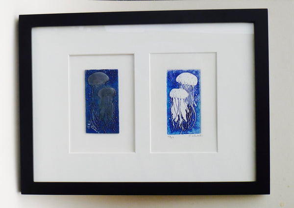Framed Jellyfish and other Original Etching Plate