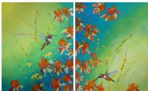 Allen Hummer Double original 2 16x20 paintings
