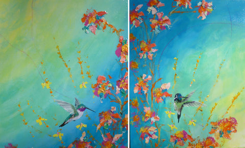 "Ruby Throat & blue chinned Hummer two, original  paintings 16""x20"" each"