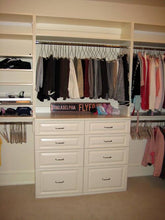 Custom Built-In White 4 Drawer Tower with Shelving from Top Shelf