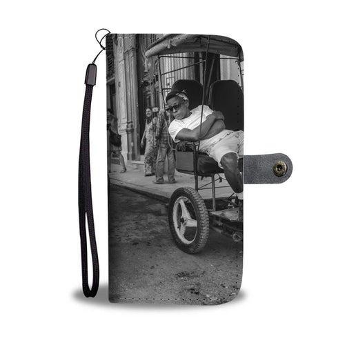 Custom wallet case. Two taxis, Havana.