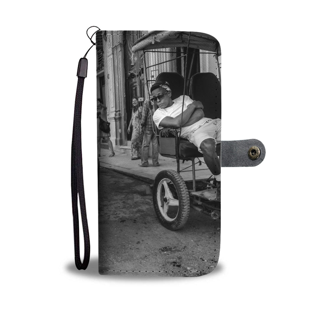 Custom wallet case. Original photography. Two taxis, Havana.