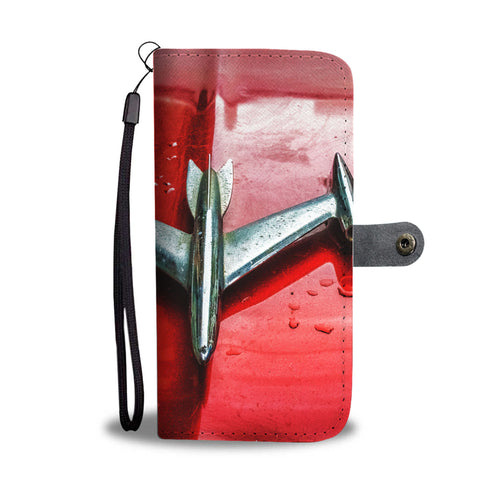 Custom wallet case. Vintage hood ornament,