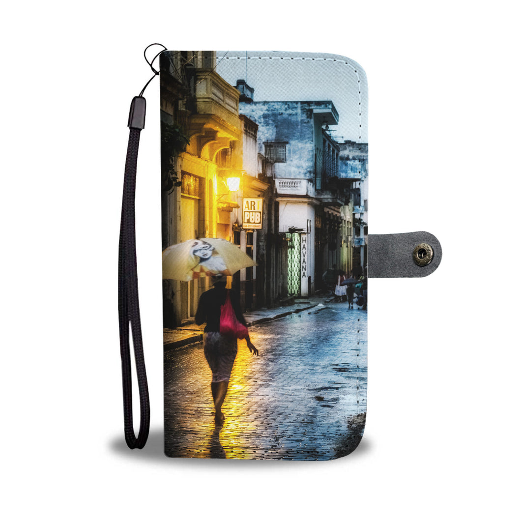 Custom wallet case. Original photography. Woman with umbrella, Havana.
