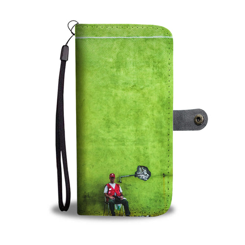 Custom wallet case. Original photography. Green wall and security guard.