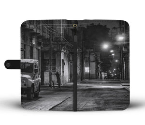 Custom wallet case. Original photography. Man in corner. Havana
