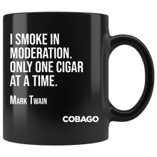 Black Mug. Cigar Quotes. MODERATION