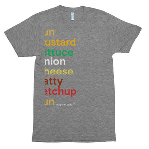 Font burger #1. Short sleeve soft t-shirt