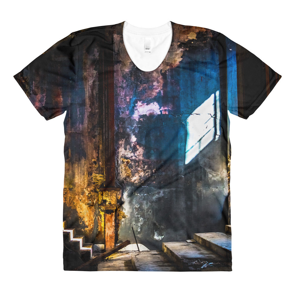 Sublimation women's crew neck t-shirt. Original print. Havana Interior.