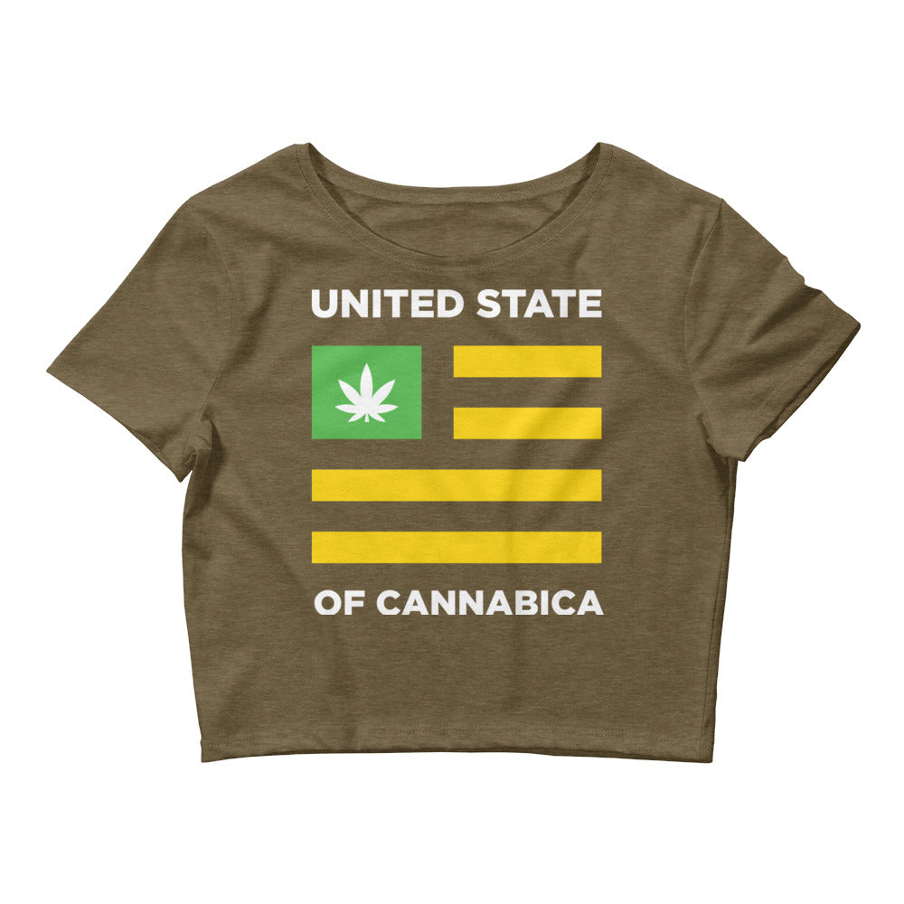 United State of Cannabica. Women's Crop Tee