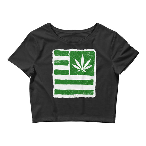 United State of Cannabica. (Green) Women's Crop Tee