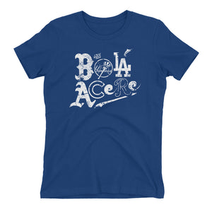 Women's t-shirt. The boyfriend tee. Que Bola Acere. Cuban presence on MLB.
