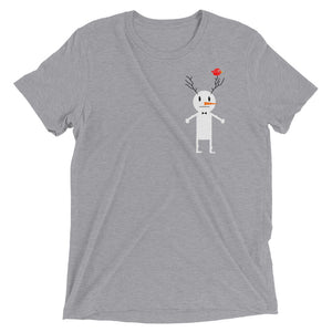 Snowman and bird. Short sleeve t-shirt