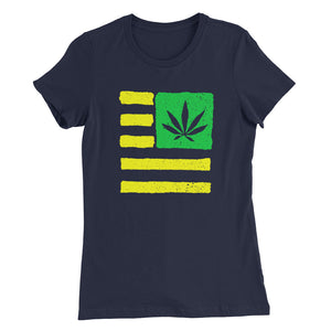 Women's Slim Fit T-Shirt. United State of Cannabica. Verdeamarilla print