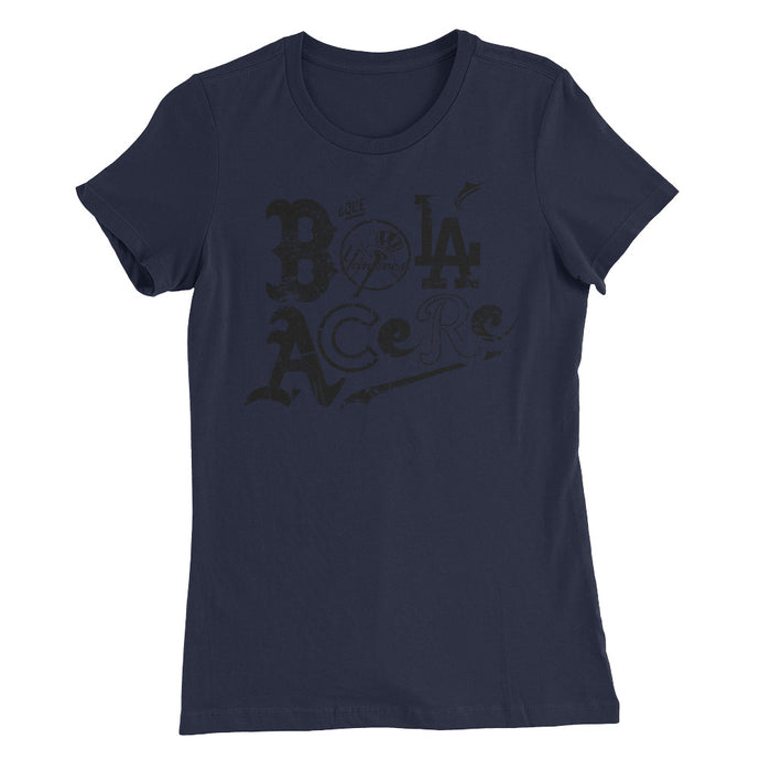 Women's Slim Fit T-Shirt. Cuban presence on MLB. NY version. Black deluxe.