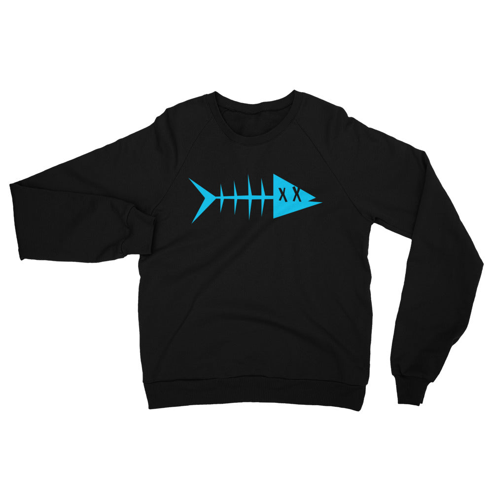 Unisex California Fleece Raglan Sweatshirt. Blue fish.