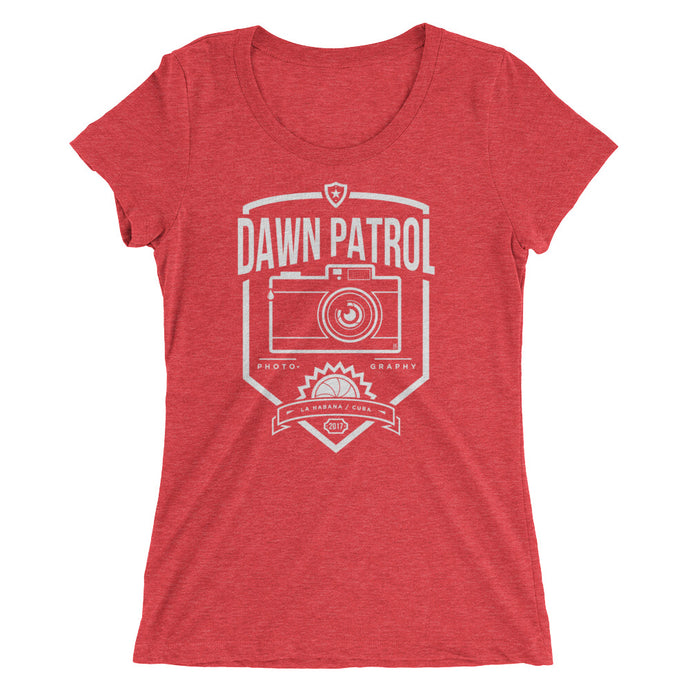 Ladies' short sleeve t-shirt. Dawn Patrol. Photographic workshops. Havana, Cuba. The Shield.