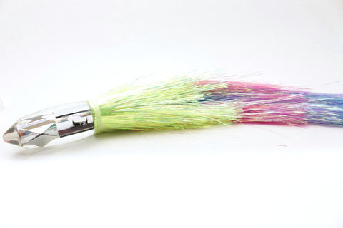 "Aloha Lures Mirrored Deep Six 9"" 6oz Flashabou Yellow-Pink-Blue Rainbow"