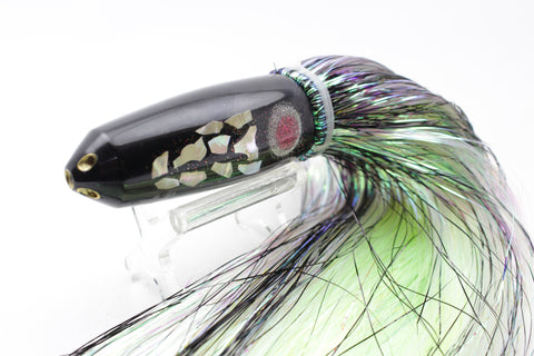 "Big Reidee Black Beauty Cracked Abalone 4-Hole Bullet 9"" 5.5oz Flashabou"