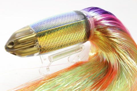 "Koya Lures Rainbow Scale 4-Hole AK Bullet 12"" 12oz Flashabou"