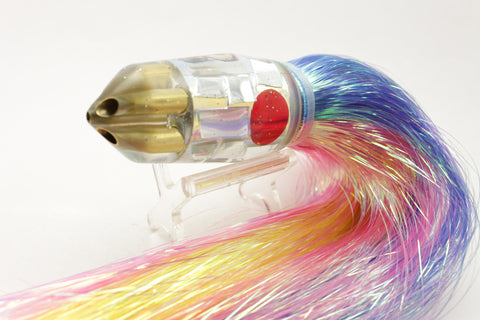 "Tanigawa Lures Ice Rainbow Cracked Glass 4-Hole Bullet 9""+ 9oz Flashabou #1"