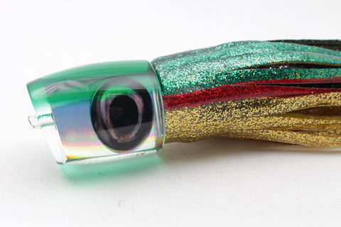 "Moyes Lures Mirrored Rainbow Green Back Medium J-Boy 12"" 7oz Skirted"